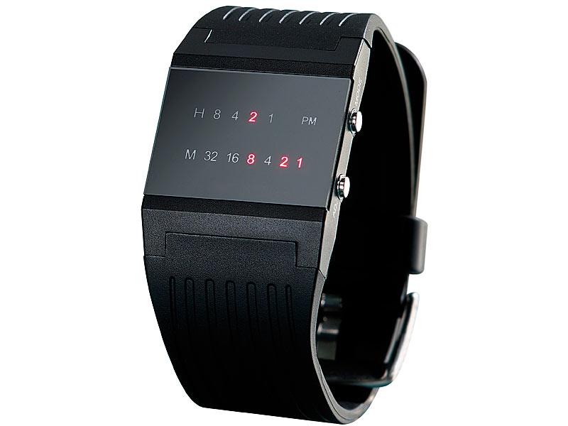 led bin228r armbanduhr f252r herren mit roten leds armband