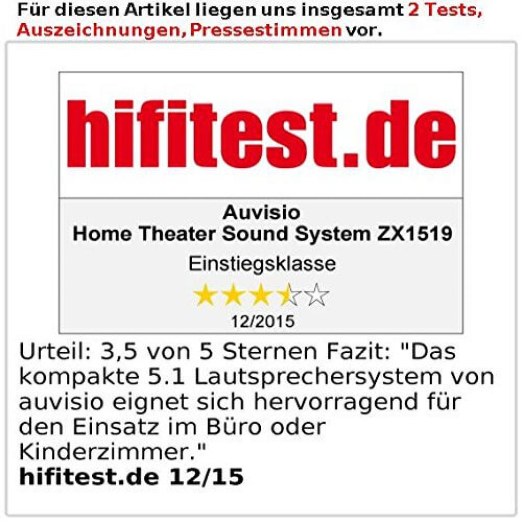 Hifitest Testbericht des Auvisio 5.1 Home Theater Soundsystems