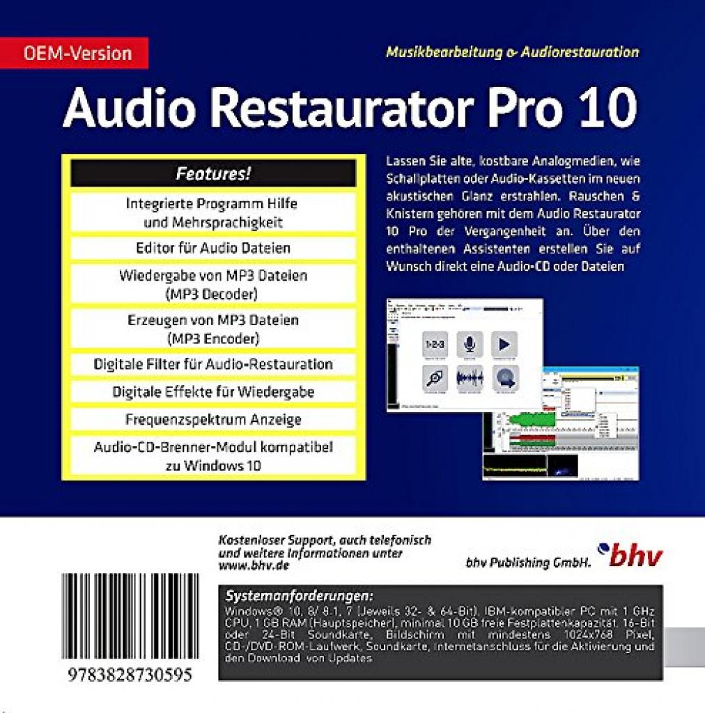 Audio Restaurator Pro 10 Software Rueckseite